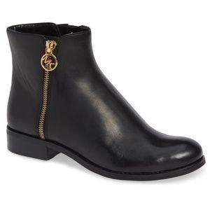 MICHAEL KORS Women's Black Leather Flat Booties